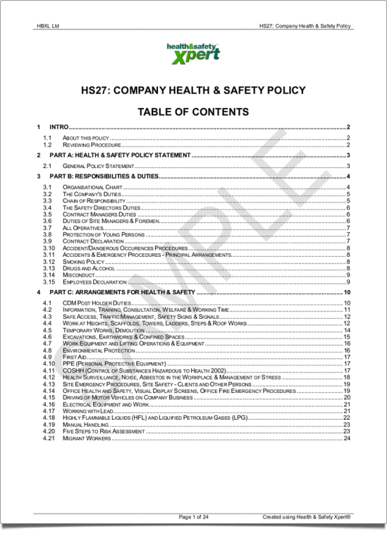 Company Health U0026 Safety Policy  Health And Safety Method Statement Template