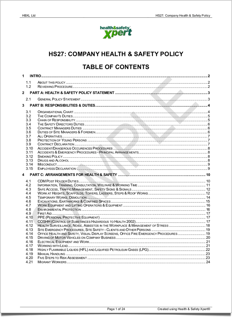 Writing a company health and safety policy