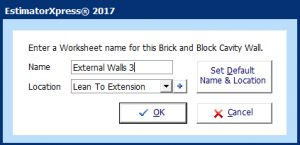 estimatorXpress 2017 - fastest estimating software worksheets