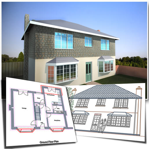 50s style two storey house with partial render