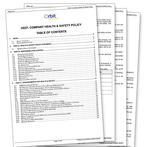 Hse Health And Safety Policy Template Health And Safety Documents For Construction Complete Library Of Reports