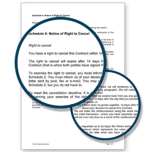 Building contracts examples - notice of the right to cancel