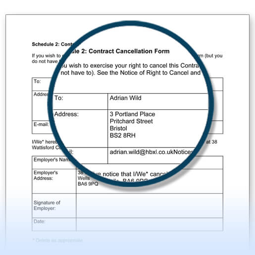 Building contracts example - cancellation form