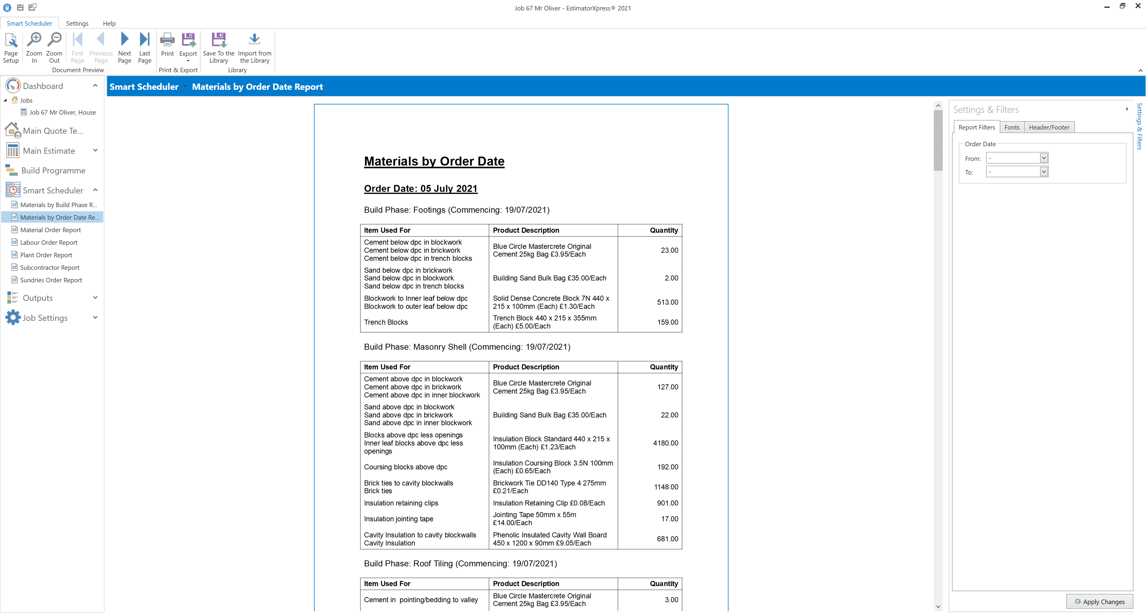 Materials by order date EstimatorXpress