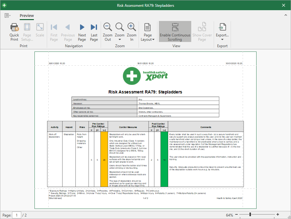 Example of document preview in new Health & Safety Xpert 2020